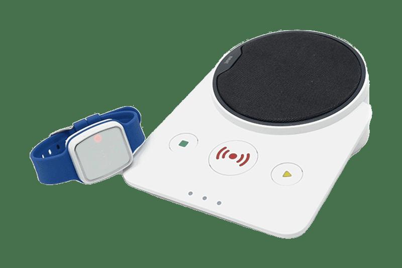 A white Novo careline alarm base unit and a blue Vibby fall sensor from Telecare24